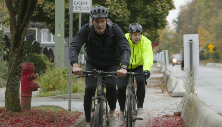 Cyclists in bike lane